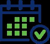 Illustration d'un calendrier en bleu et vert avec une coche à côté