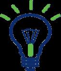 Blue and green line art illustration of a light bulb.