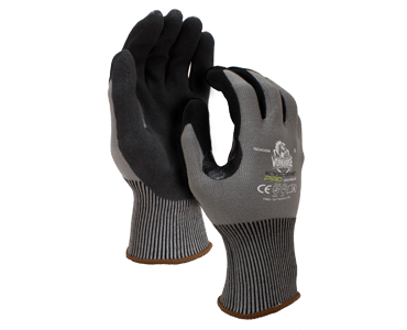 Black and grey kyorene cut resistant gloves from Bunzl Safety.