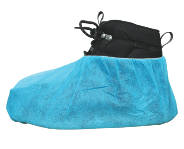 Blue and black shoe cover made of polypropolyne from Bunzl Safety.
