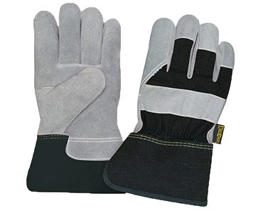 Image of a pair of grey and black Workhorse Premium Split Leather Fitters Gloves from Bunzl Safety.