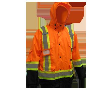 Deux gilets de sécurité orange, des t-shirts de sécurité jaune fluorescent et une veste de travail 3-en-1 orange fluorescent de Bunzl-Sécurité.