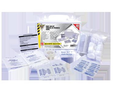 Image du contenu d'une trousse personnelle de premiers secours Workhorse comprenant : pansements, lingettes et solutions de Bunzl-Sécurité.