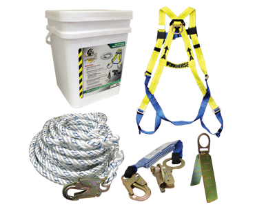 Image of a harness, rope, fasteners, rope anchor and storage pail from Bunzl Safety.