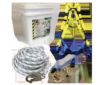 Image d'un harnais, d'une corde, d'attaches, d'un ancrage de corde et d'un seau de stockage de Bunzl-Sécurité.