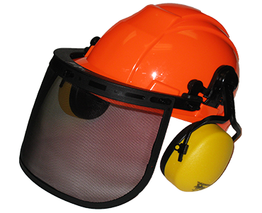 Image of white Workhorse forestry kit that includes hard hat, visor, and ear muffs from Bunzl Safety.