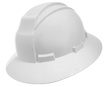 Image of white Workhorse wide brim hard hat from Bunzl Safety.