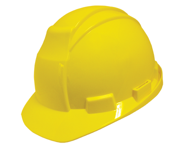 Image of Workhorse traditional design yellow hard hat from Bunzl Safety.