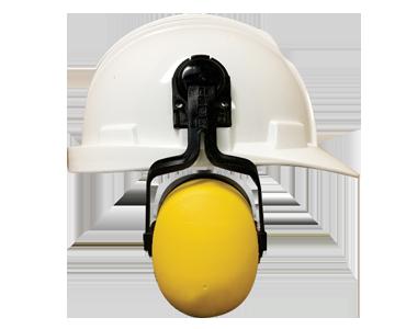 Image d'un casque de protection blanc Workhorse avec support pour protège-oreilles jaunes de Bunzl-Sécurité.