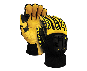 Image of a pair of black and yellow Workhorse Deerskin Leather Gloves from Bunzl Safety.