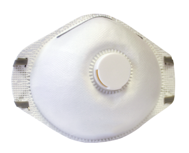 Image of a white WORKHORSE N95 Particulate Respirator with Exhalation Valve from Bunzl Safety.