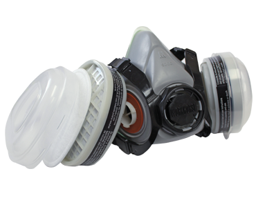 White, grey and black WORKHORSE Dual Cartridge Respirator from Bunzl Safety.