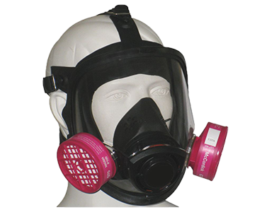 Black and transparent WORKHORSE Full Face Respirator from Bunzl Safety.