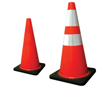 Image of two fluorescent traffic cones from Bunzl Safety.