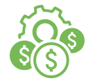 Green line illustration of coins with dollar signs in front of a wheel.
