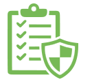 Green line illustration of a shield on a clipboard illustrating Bunzl Safety's Audit process.