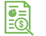 Green line illustration of a magnifying glass focused on a document with a dollar sign.