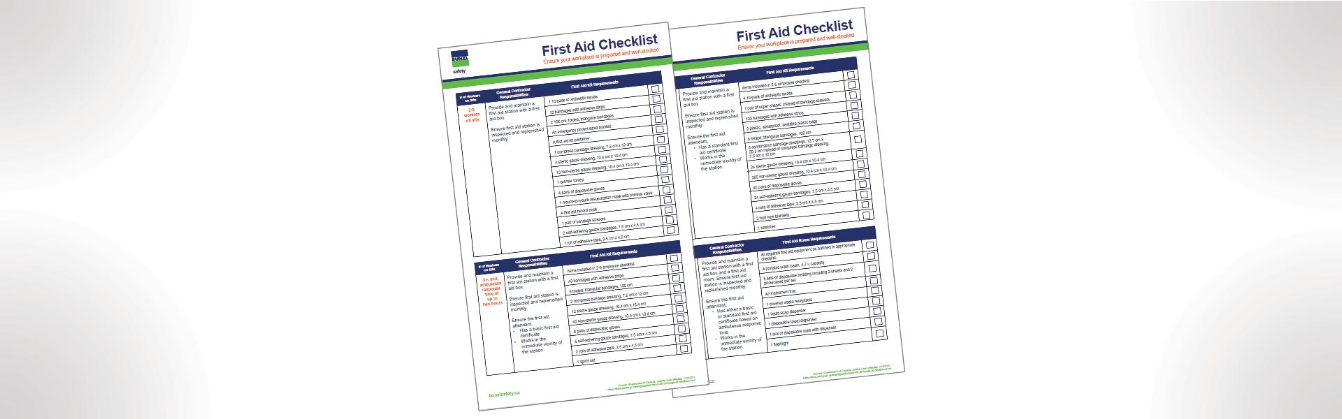 Une image du document de la liste de contrôle des premiers soins de Bunzl Safety Canada.