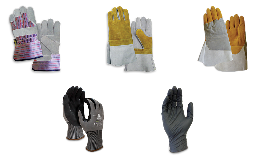 Image of five different types pf protective gloves from Bunzl Safety.