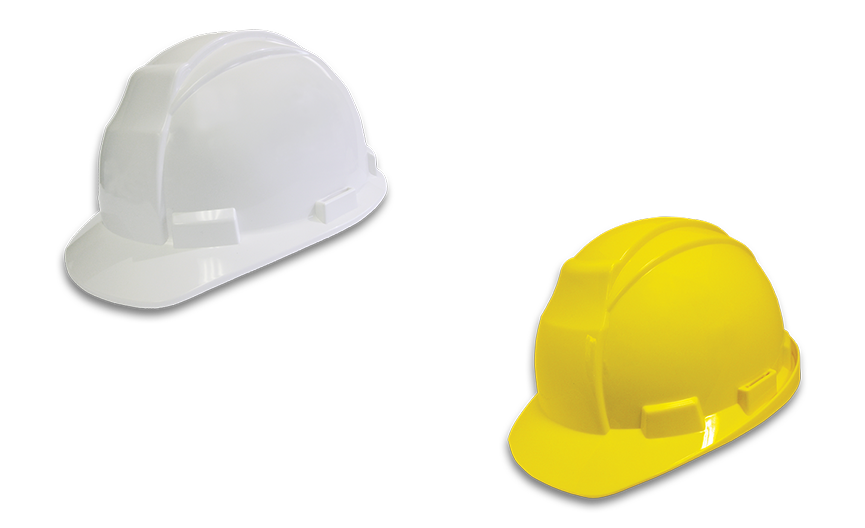 Image of one white and one yellow Workhorse Hard hat from Bunzl Safety.