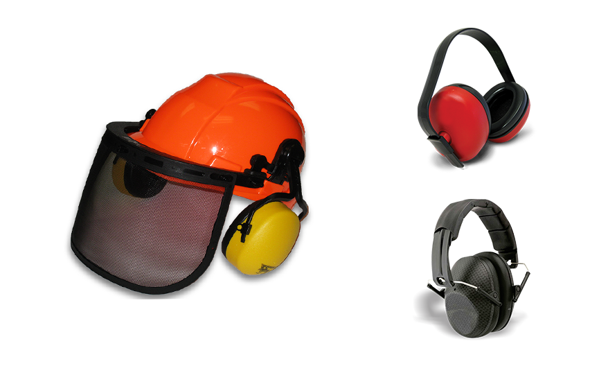 Image de trois protecteurs d'oreilles dont un monté sur casque de Bunzl-Sécurité.