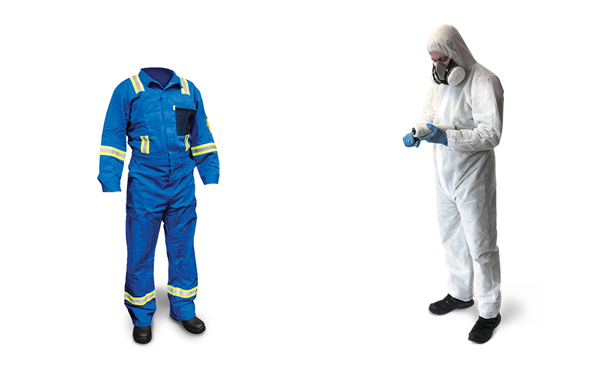 One Blue Fabric fire resistant coverall and one white disposable protective cover all from Bunzl Safety.