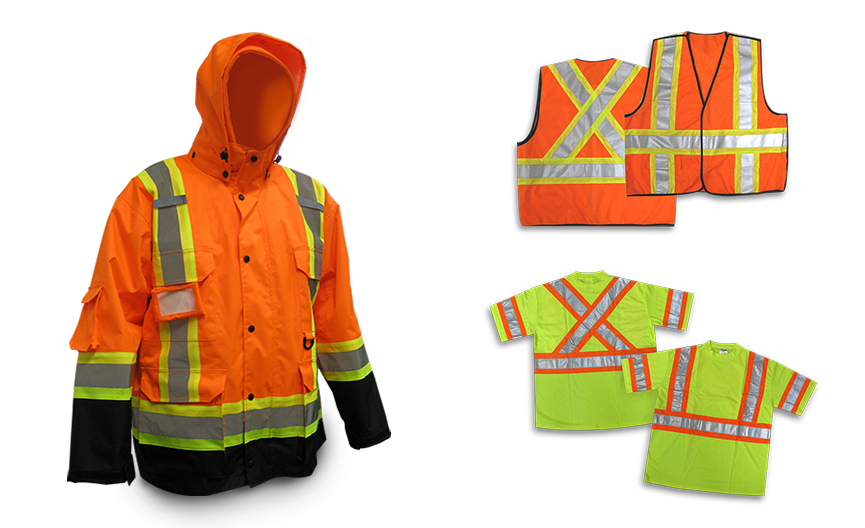 Two orange safety vests, fluorescent yellow safety t-shirts and a fluorescent orange 3-in-1 work jacket from Bunzl Safety.