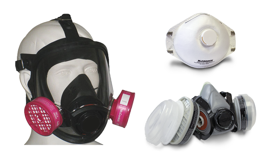 Collage of white WORKHORSE exhalation valve, dual cartridge respirator and full face respirator from Bunzl safety.