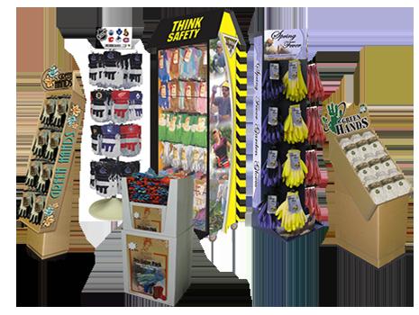 Collage de six présentoirs pour vente au détail d'une variété de produits de Bunzl-Sécurité.