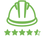 Green line illustration of a Bunzl Safety hard hat with a 5 star rating.